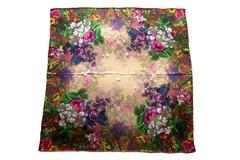 Итальянский платок из шелка коричневый с цветами 5302
