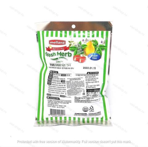 Карамель без сахара со вкусом мяты, айвы, грейпфрута, лайма Melland FreshHerb candy sugar free, 74 гр.
