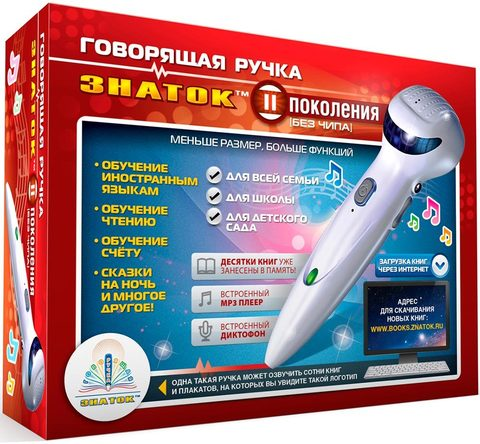 Знаток: Говорящая ручка Знаток 2-го поколения (память 4Гб + аудиостикеры) ZP-70189