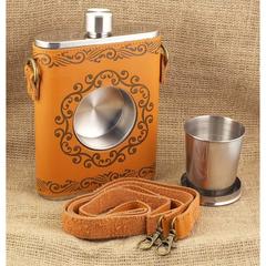 Фляга со встроенным стаканчиком, чехол и ремешок из кожи, 600 мл, фото 2