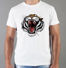 Футболка с принтом Тигр (Tiger) белая 0061