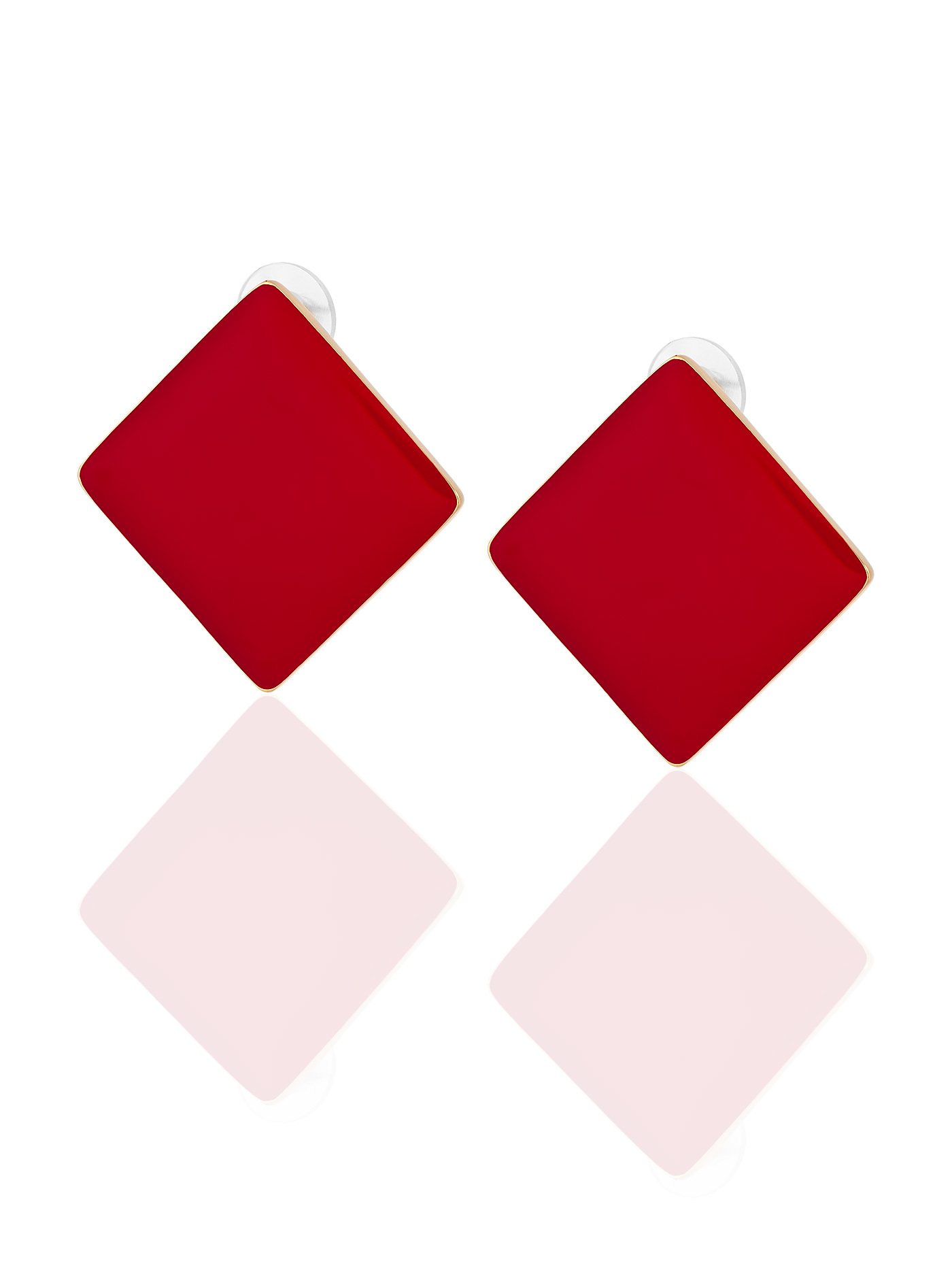 Серьги Красные квадраты