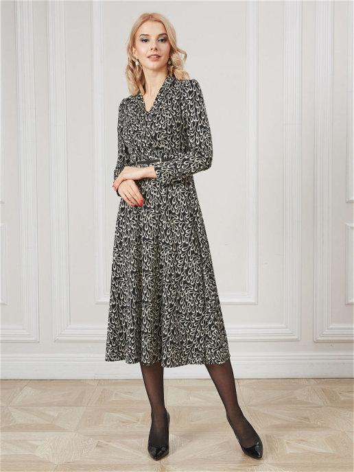 Платье 17004C черный-коричневый
