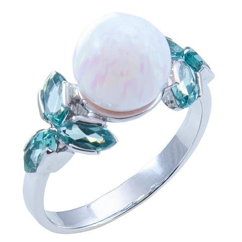 Кольцо из серебра с опалом и турмалином параиба Арт.1074о параиб