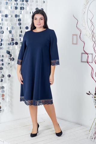 Лолита.  Нарядное платье с кружевом. Синий