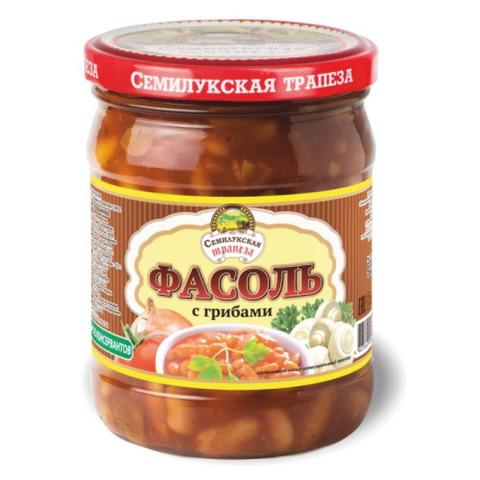 Фасоль в томатном соусе с грибами