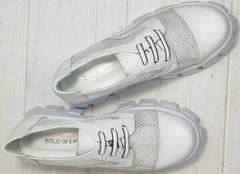Женская обувь в сеточку. Закрытые туфли на высоком каблуке и платформе Gold Deer 157-963 White.