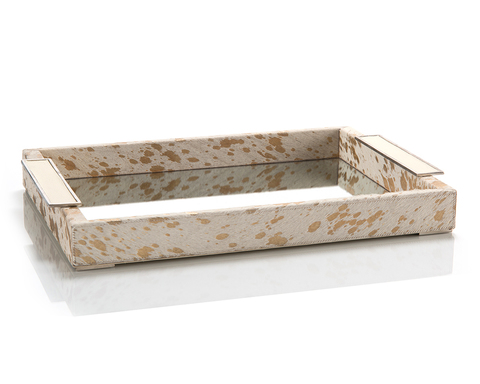 Cream and Gold Hide Mirrored Tray