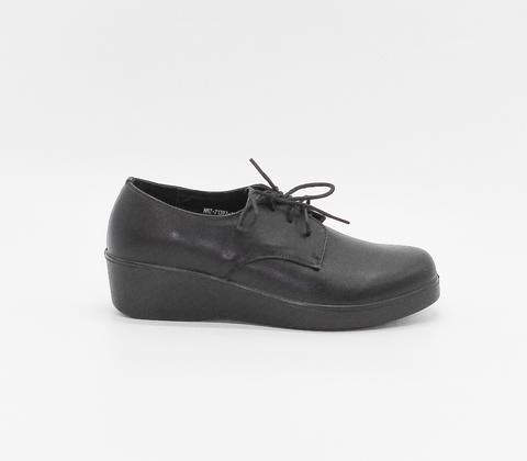 Черные кожаные полуботинки на танкетке