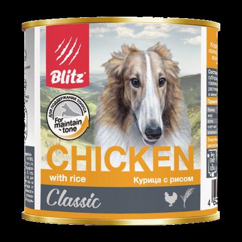 Blitz Classic Консервы для собак с курицей и рисом (Банка)