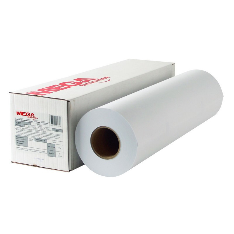 Бумага широкоформатная ProMEGA engineer Bright white 80г 841ммх150м 76мм