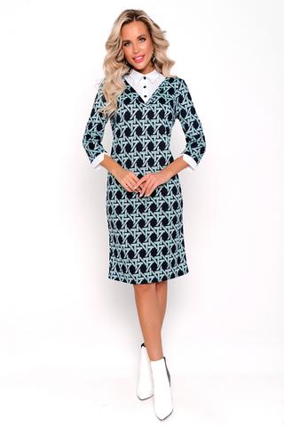 <p>Очаровательное офисное платье, строгое, узкое, до колен или чуть ниже, с приталенным силуэтом, однако не слишком обтягивающее формы. Платье характеризуется сдержанным декором с оригинальной белой отделкой в офисном стиле.</p>