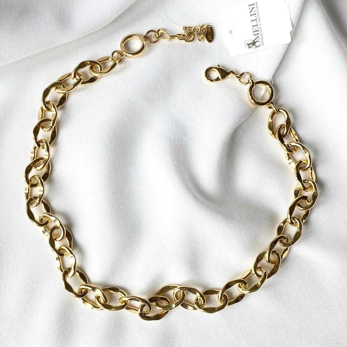 Колье-цепь с мятыми звеньями золотой