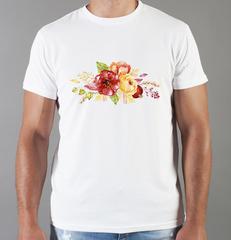Футболка с принтом Цветы (Пионы) белая 0010