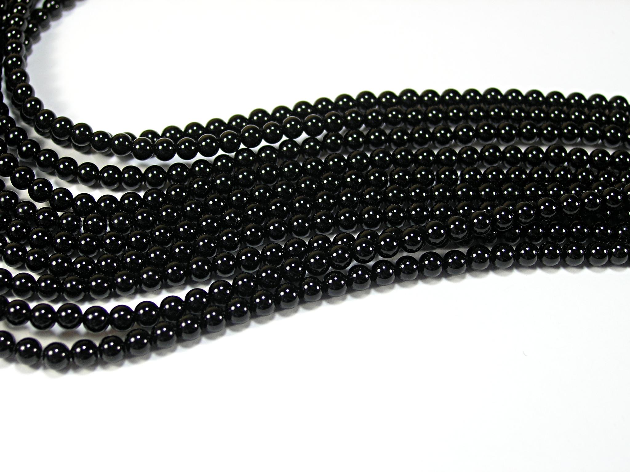 Нити бусин из оникса черного, шар гладкий 4мм (оптом)