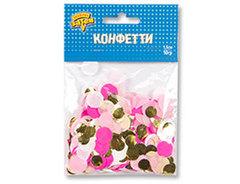 Конфетти Круги тишью/фольга, Розовый/Золото, 1,5 см, 10 гр, 1 уп.