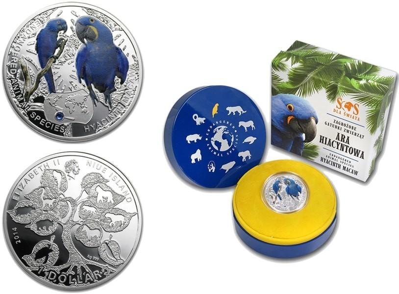 1 доллар 2014 год. Попугай Гиацинтовый ара Исчезающие виды. Ниуэ. Серебро