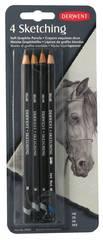 Набор чернографитных карандашей SKETCHING 4шт в блистере