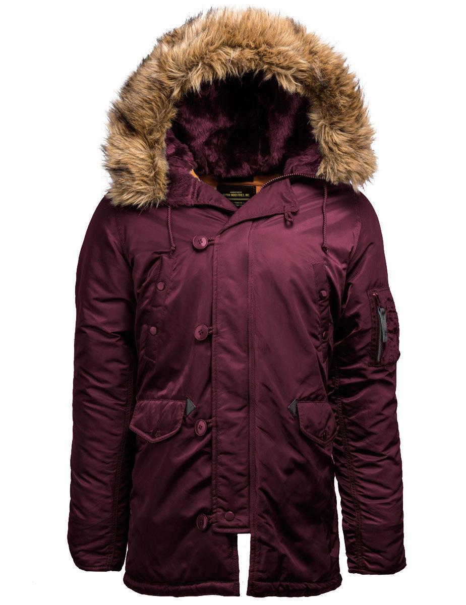 Куртка Аляска Slim Fit N-3B (бордовая - maroon/orange)