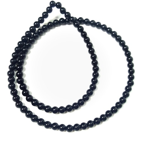 Бусины оникс черный (имитация) шар гладкий 4 мм