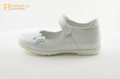 Туфли Тотто из натуральной кожи на липучке для девочек, цвет Белый, 10204A. Изображение 3 из 16.