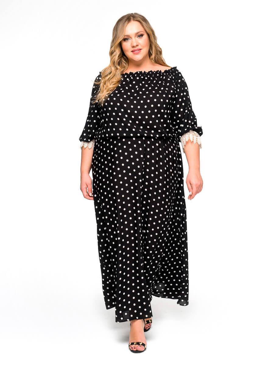 Свободное платье из штапеля Горох
