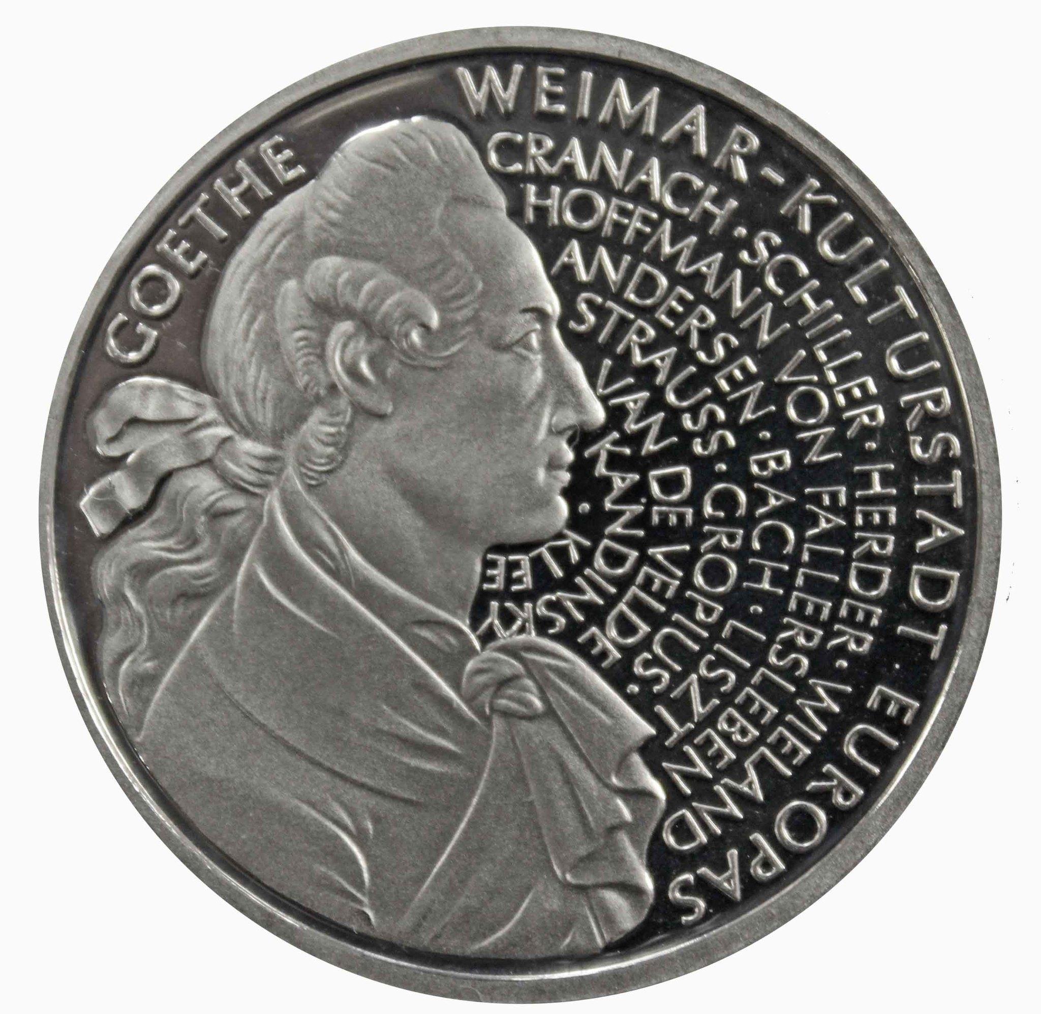 10 марок. 250 лет со дня рождения Иоганна Вольфганга фон Гете (А). Серебро. 1999 г. PROOF. В родной запайке