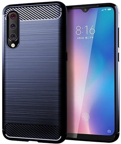Чехол для Xiaomi Mi 9 (9 Pro 5G) цвет Blue (синий), серия Carbon от Caseport