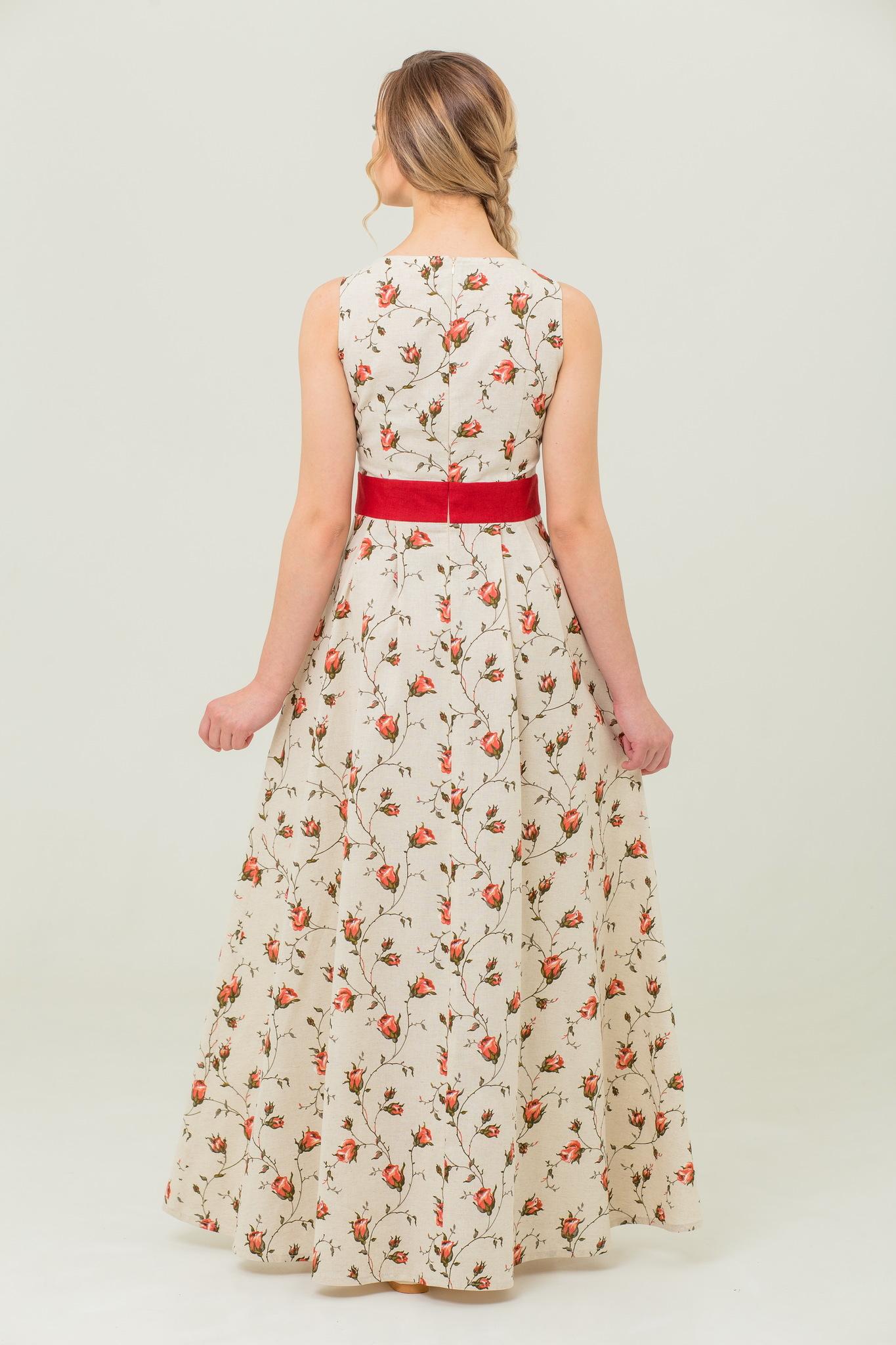 Платье льняное Зайцевская роза цветочный принт