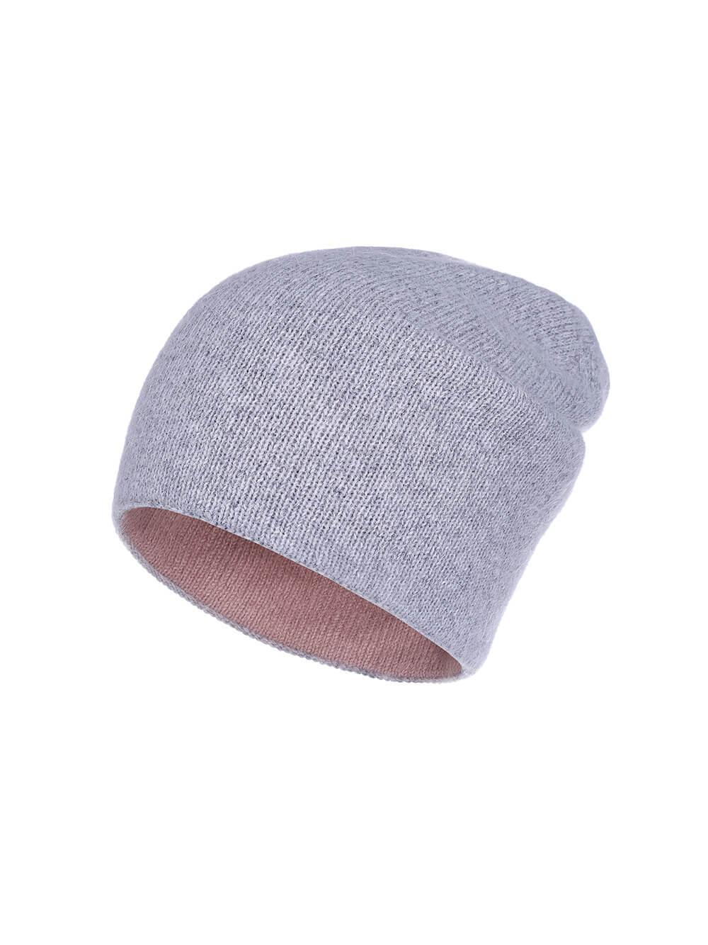 Женская шапка бежево-розового цвета из ангоры - фото 1