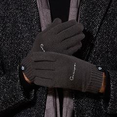 Теплые вязаные трикотажные перчатки с тачскрином, внутри флис  (Зимние перчатки для сенсорных экранов) темно-болотные