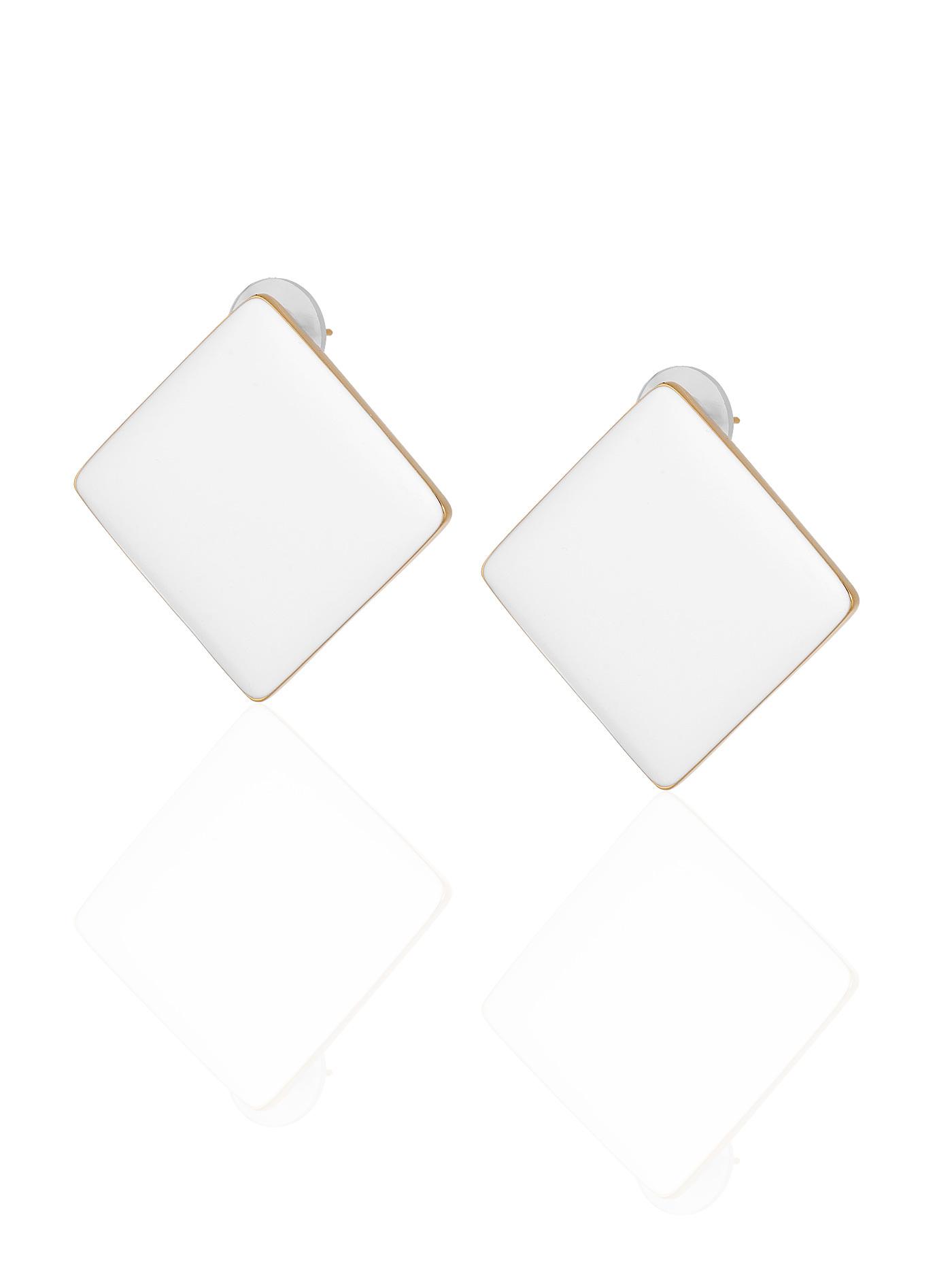 Серьги Белые квадраты