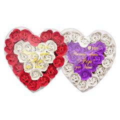 Мыльные цветы «Розы», в коробке в форме сердца, 24 шт
