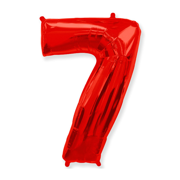 Фольгированная цифра 7, красный
