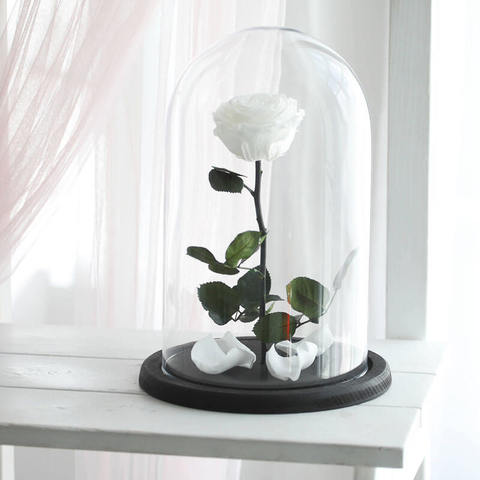 Роза в колбе белая    (VIP)