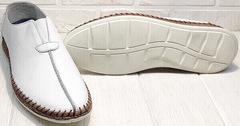 Белые мокасины мужские туфли спортивного стиля smart casual стиль летние Luciano Bellini 91724-S-304 All White.