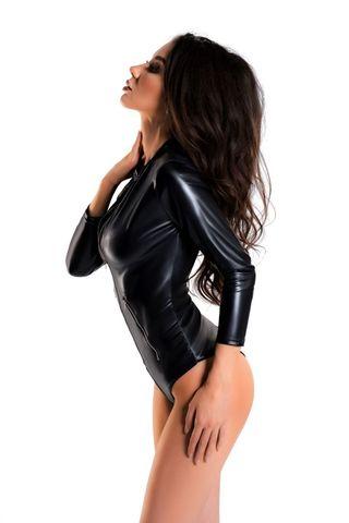 Сексуальное боди Alessia из материала с мокрым блеском