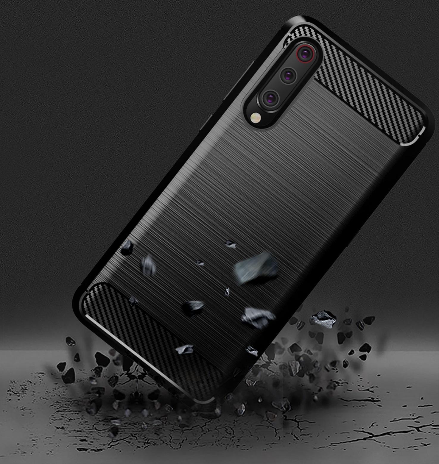 Чехол Xiaomi Mi 9 (9 Pro 5G) цвет Blue (синий), серия Carbon, Caseport