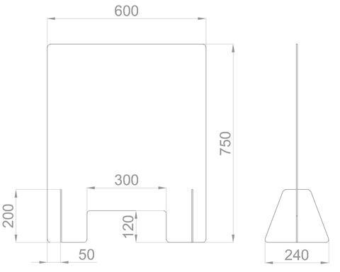 Настольный экран с окном Ш. 600мм, В. 600/750 мм