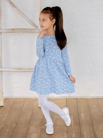 Платье Элла голубое с бабочками
