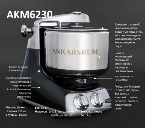 Тестомес электрический на 5 кг теста Ankarsrum AKM 6230, устройство