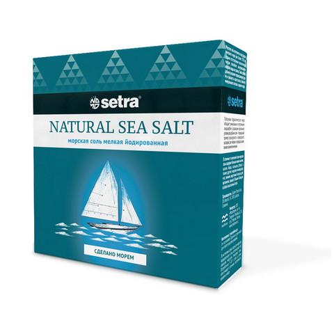 Соль Setra морская натуральная мелкая йодированная 500 г