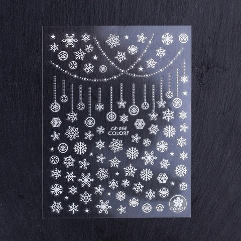 Наклейки снежинки белые (1442)