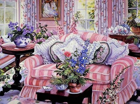 Картина раскраска по номерам 40x50 Яркая комната (арт. RA3808)