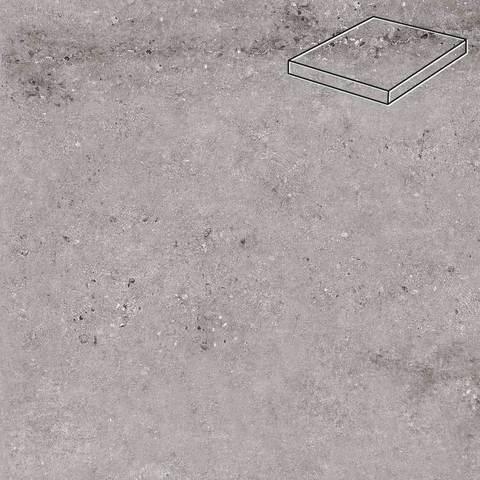 Stroeher - Gravel Blend 962 grey 340х340х35х11 артикул 9441 - Угловая клинкерная ступень прямоугольная Loftstufe