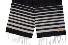 Шерстяной шарф черно-белый в полоску 30491
