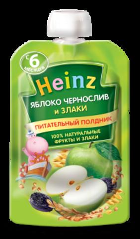 Heinz Пюре Яблоко-чернослив 3 злака (пауч 90гр) с 6мес