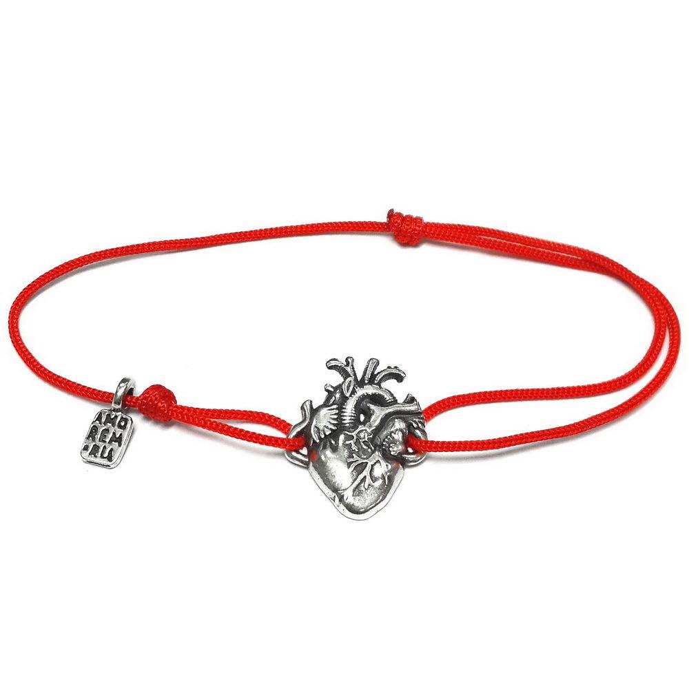 Human heart bracelet, Sterling Silver Anatomical heart bracelet