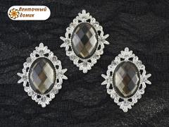 Камни овалы в ромбовой оправе светлое серебро серо-коричневые