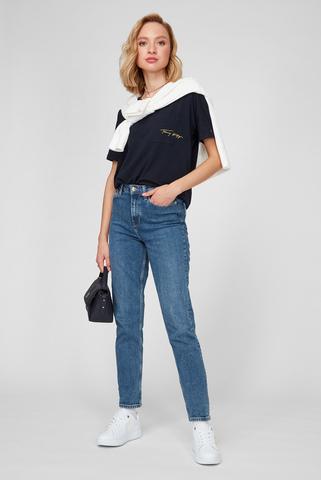 Женская темно-синяя футболка RELAXED C-NK GOLD SCRIPT TEE Tommy Hilfiger
